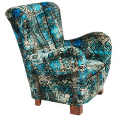 Danish Mid-20th Century Armchair Upholstered in Patterned Velour