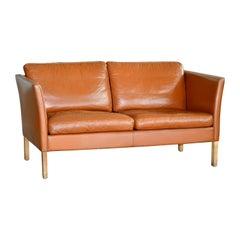 Danish Mid-C Borge Mogensen Style Danish Two-Seat Cognac Colored Leather Sofa