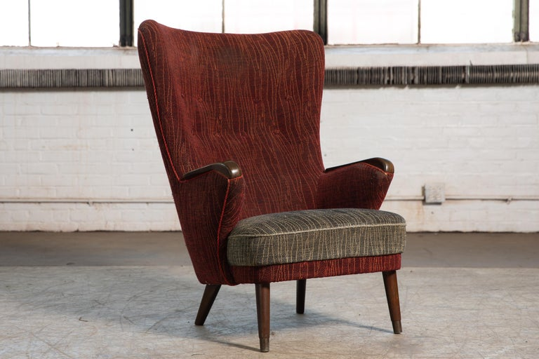 Scandinavian Modern Danish Mid-Century 1950's Lounge Chair with Teak Accent on Armrests For Sale