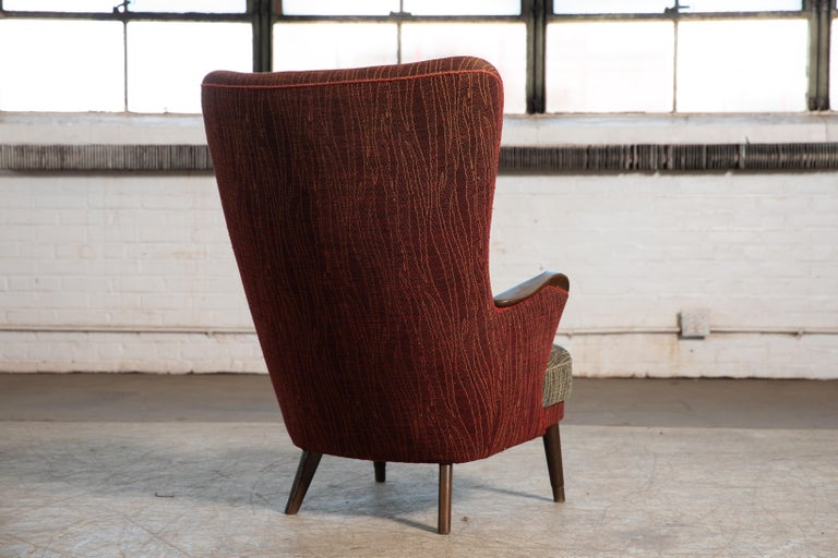Mid-20th Century Danish Mid-Century 1950's Lounge Chair with Teak Accent on Armrests For Sale