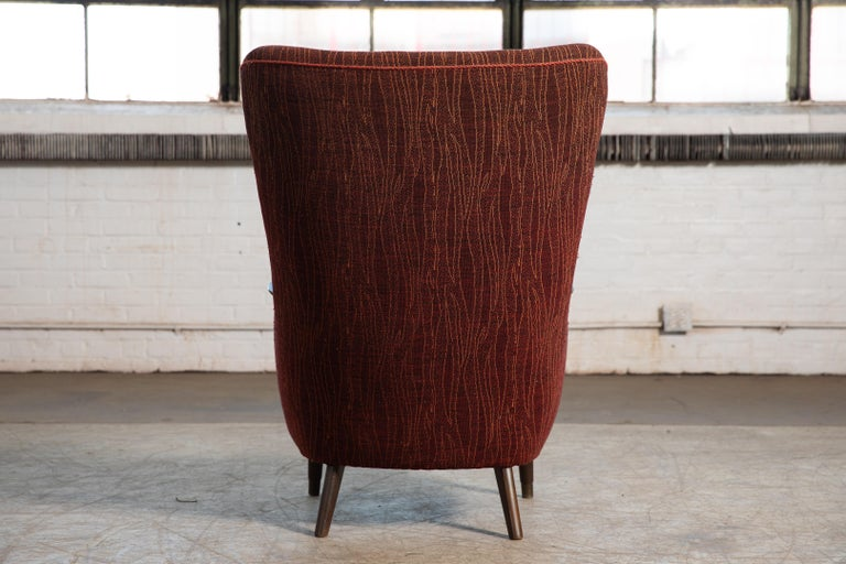 Wool Danish Mid-Century 1950's Lounge Chair with Teak Accent on Armrests For Sale