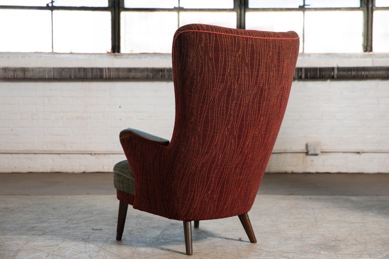 Danish Mid-Century 1950's Lounge Chair with Teak Accent on Armrests For Sale 1