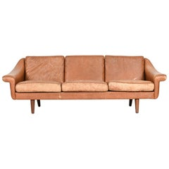 Danish Mid-Century 3-Seater Leather Sofa
