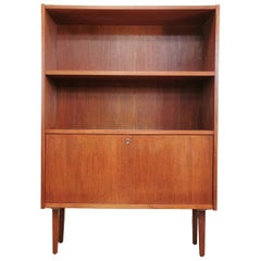Danish Midcentury Bookcase Cabinet Vintage Retro Wall Unit, 1960s-1970s