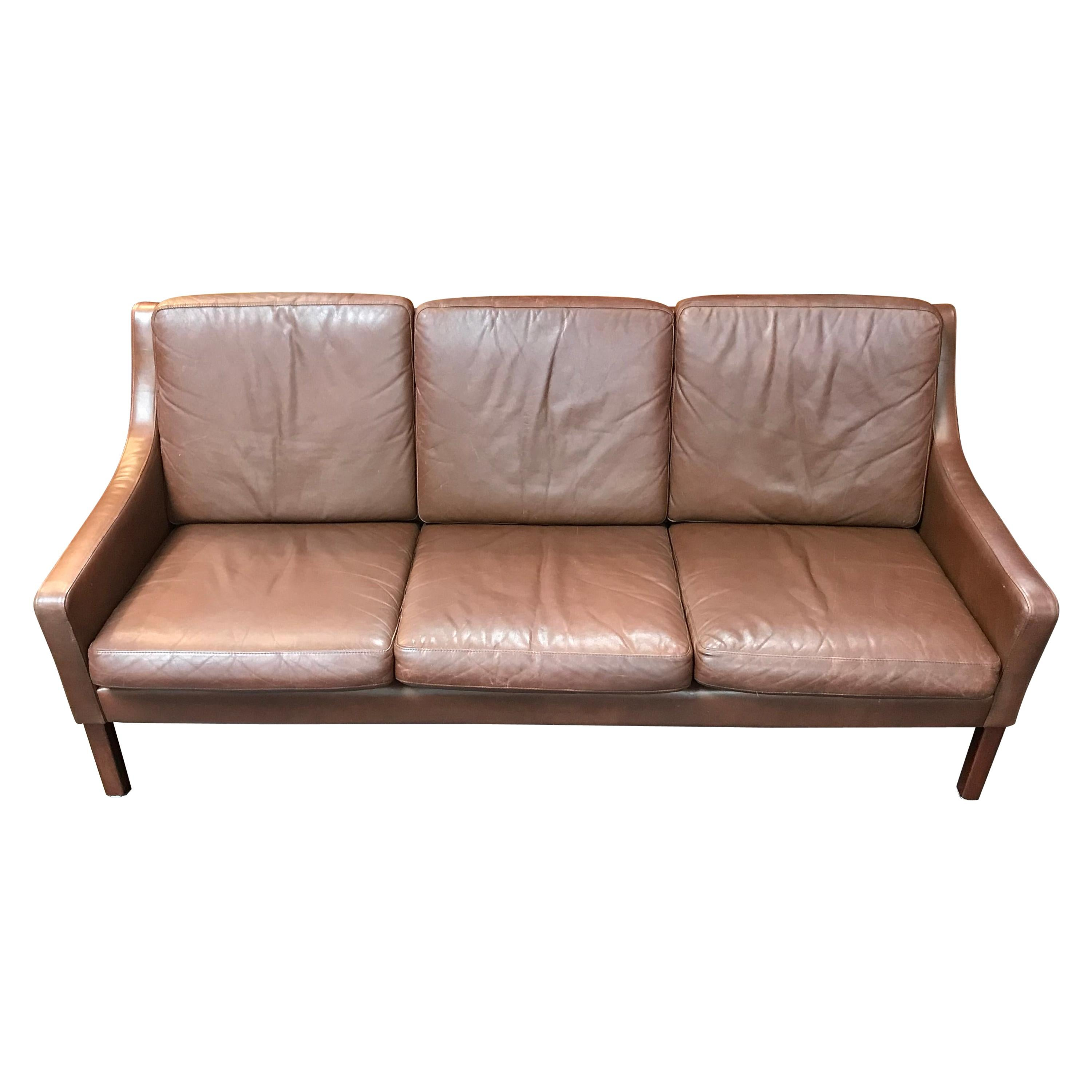 Danish Midcentury Borge Mogensen Style 3 Seat Sofa In Brown