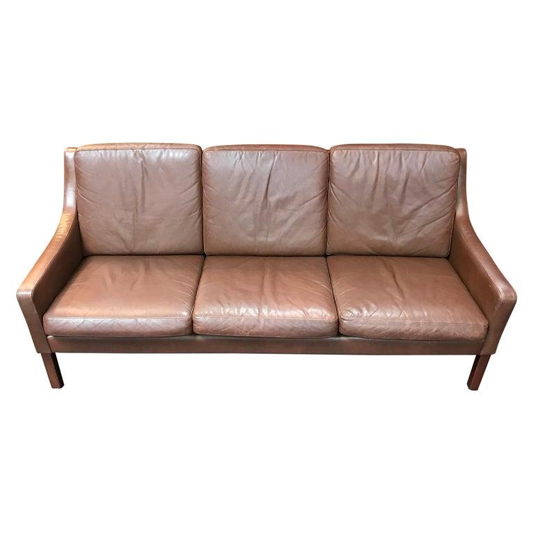 Danish Midcentury Borge Mogensen Style 3-Seat Sofa in Brown Leather