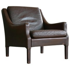 Danish Midcentury Borge Mogensen Style Leather Lounge Chair