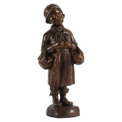 Danish Midcentury Bronze Figurine by Elna Borch Young Boy with Umbrella, 1950s