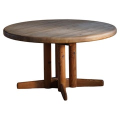 Danish Mid Century Brutalist Round Dining Table in Pine, by Rainer Daumiller