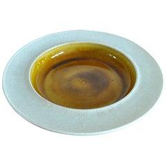 Danish Midcentury Ceramic Dish, Golden Ochre Glaze Handmade by Kähler