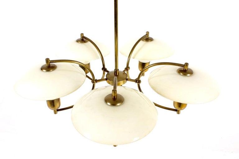 Scandinavian Modern Danish Midcentury Chandelier in Brass & Glass Designed by Ernst Voss, 1950s For Sale
