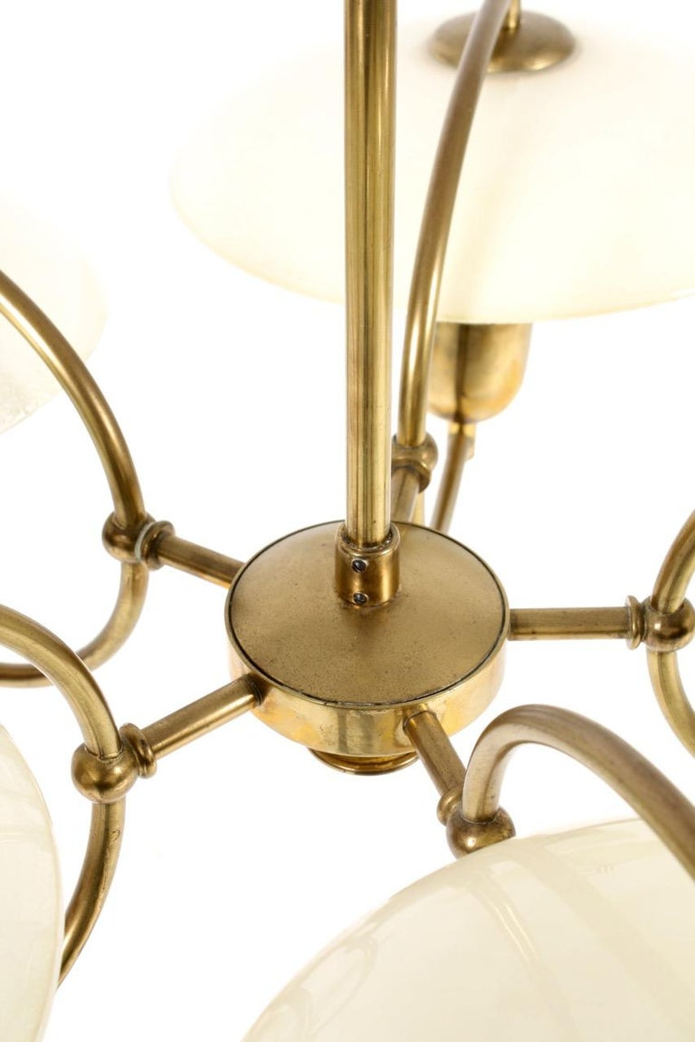 Danish Midcentury Chandelier in Brass & Glass Designed by Ernst Voss, 1950s In Good Condition For Sale In Lejre, DK