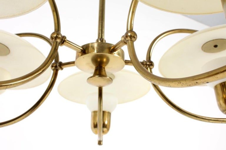 Mid-20th Century Danish Midcentury Chandelier in Brass & Glass Designed by Ernst Voss, 1950s For Sale