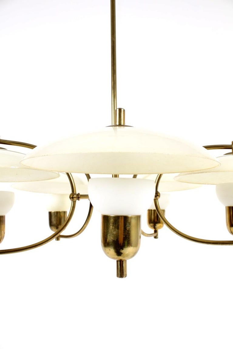 Danish Midcentury Chandelier in Brass & Glass Designed by Ernst Voss, 1950s For Sale 1