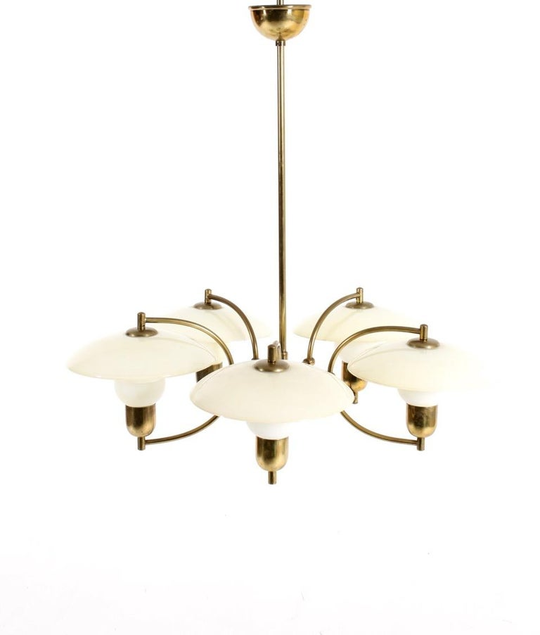 Danish Midcentury Chandelier in Brass & Glass Designed by Ernst Voss, 1950s For Sale 2