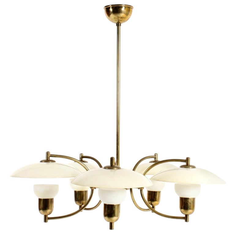 Danish Midcentury Chandelier in Brass & Glass Designed by Ernst Voss, 1950s For Sale