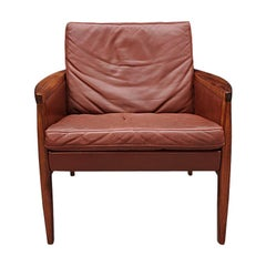 Danish Midcentury Cognac Leather and Rosewood Lounge Chair by Hans Olsen