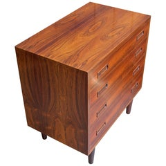 Danish Mid-Century Dresser Cabinet Book Matched Rosewood Chest of Drawers Table