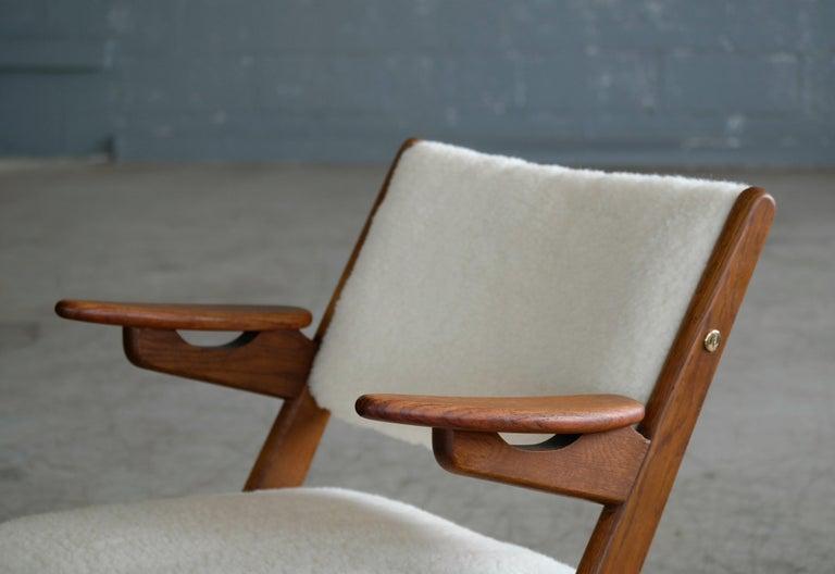 Mid-Century Modern Danish Midcentury Easy Chair in Teak and Lambswool by Arne Hovmand-Olsen For Sale