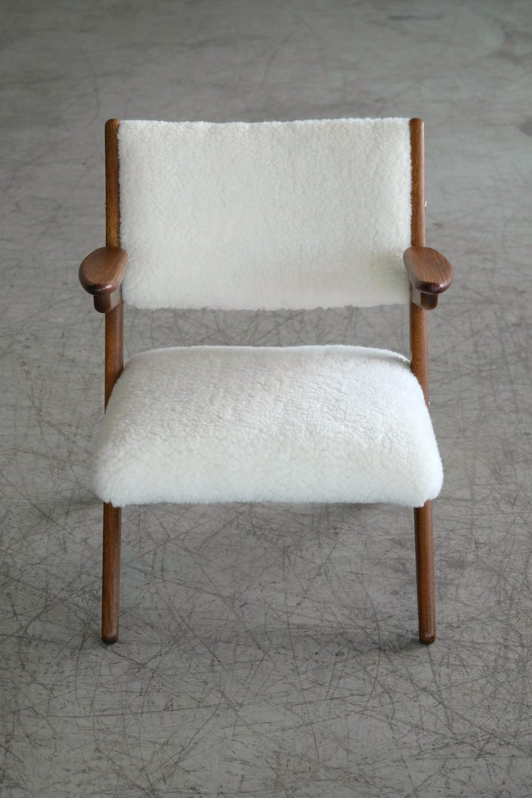 Mid-20th Century Danish Midcentury Easy Chair in Teak and Lambswool by Arne Hovmand-Olsen For Sale