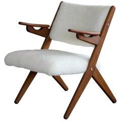 Danish Midcentury Easy Chair in Teak and Lambswool by Arne Hovmand-Olsen