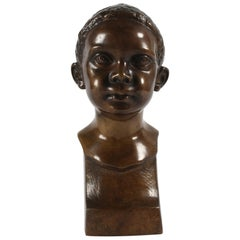 Danish Midcentury Elna Borch Bronze Bust of Young Child Made by L. Rasmussen
