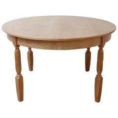 Danish Mid-Century Extendable Circular Oak Dining Table by Rosengaarden