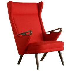 Danish Midcentury Highback Lounge Chair with Teak Armrests and Ferrari Red Wool