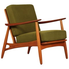 Danish Midcentury Johannes Andersen Oak and Teak Easy Chair Model 121, 1950s