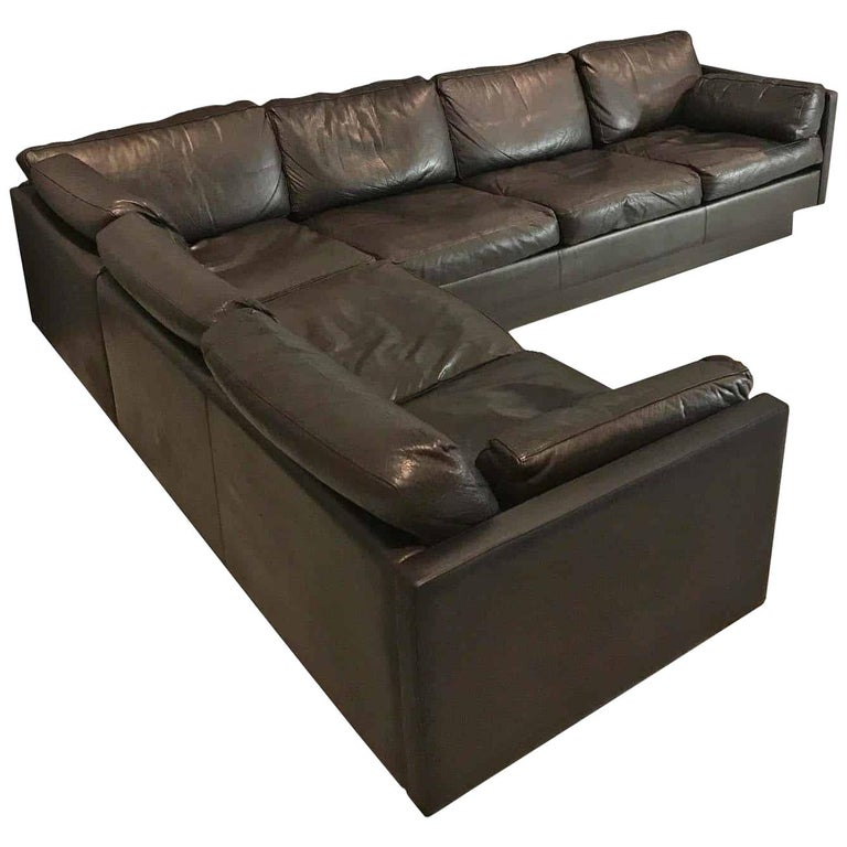 Danish Midcentury Leather Corner Sofa