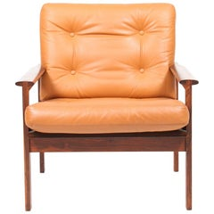Danish Midcentury Lounge Chair in Leather by Illum Wikkelsø
