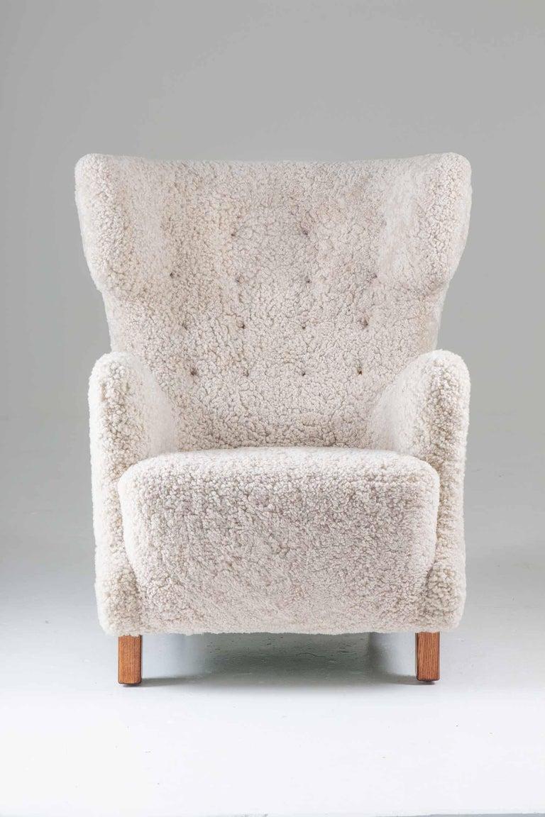 Scandinavian Modern Danish Midcentury Lounge Chair in Sheepskin, 1940s For Sale