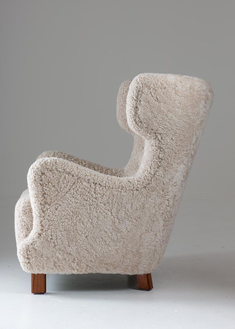 Danish Midcentury Lounge Chair in Sheepskin, 1940s In Good Condition For Sale In Karlstad, SE