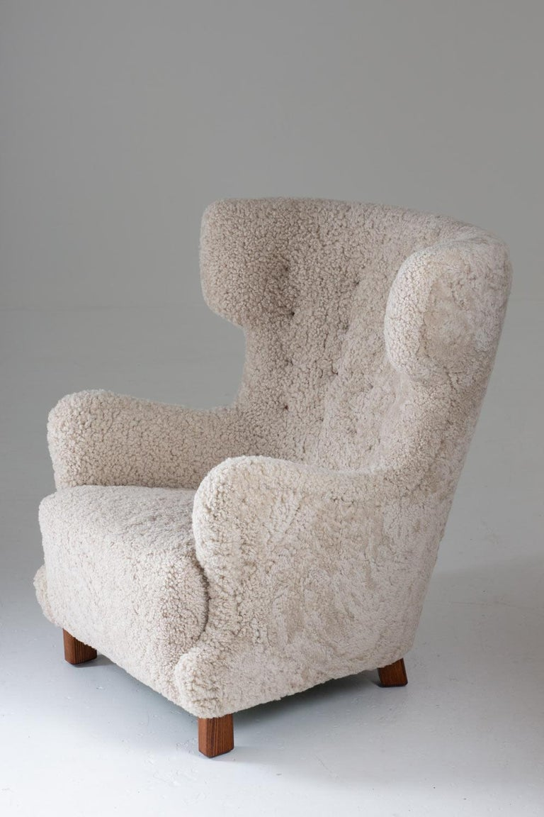 20th Century Danish Midcentury Lounge Chair in Sheepskin, 1940s For Sale