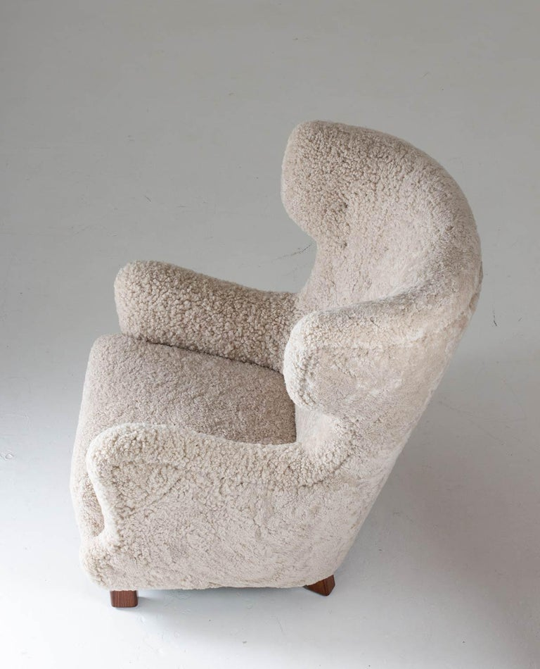 Wood Danish Midcentury Lounge Chair in Sheepskin, 1940s For Sale