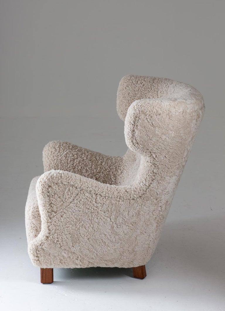 Danish Midcentury Lounge Chair in Sheepskin, 1940s For Sale 1