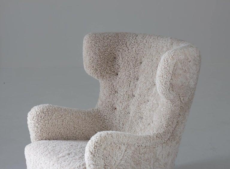 Danish Midcentury Lounge Chair in Sheepskin, 1940s For Sale 2