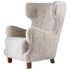 Danish Midcentury Lounge Chair in Sheepskin, 1940s