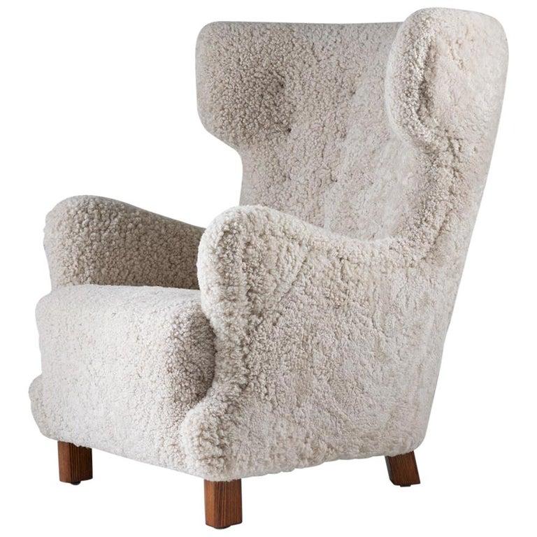 Danish Midcentury Lounge Chair in Sheepskin, 1940s For Sale