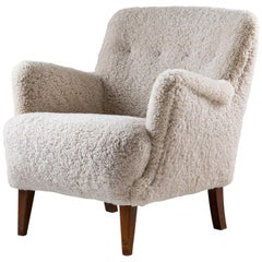 Danish Mid Century Lounge Chair in Sheepskin, 1940s