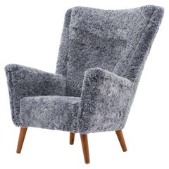 Danish Midcentury Lounge Chair in Sheepskin