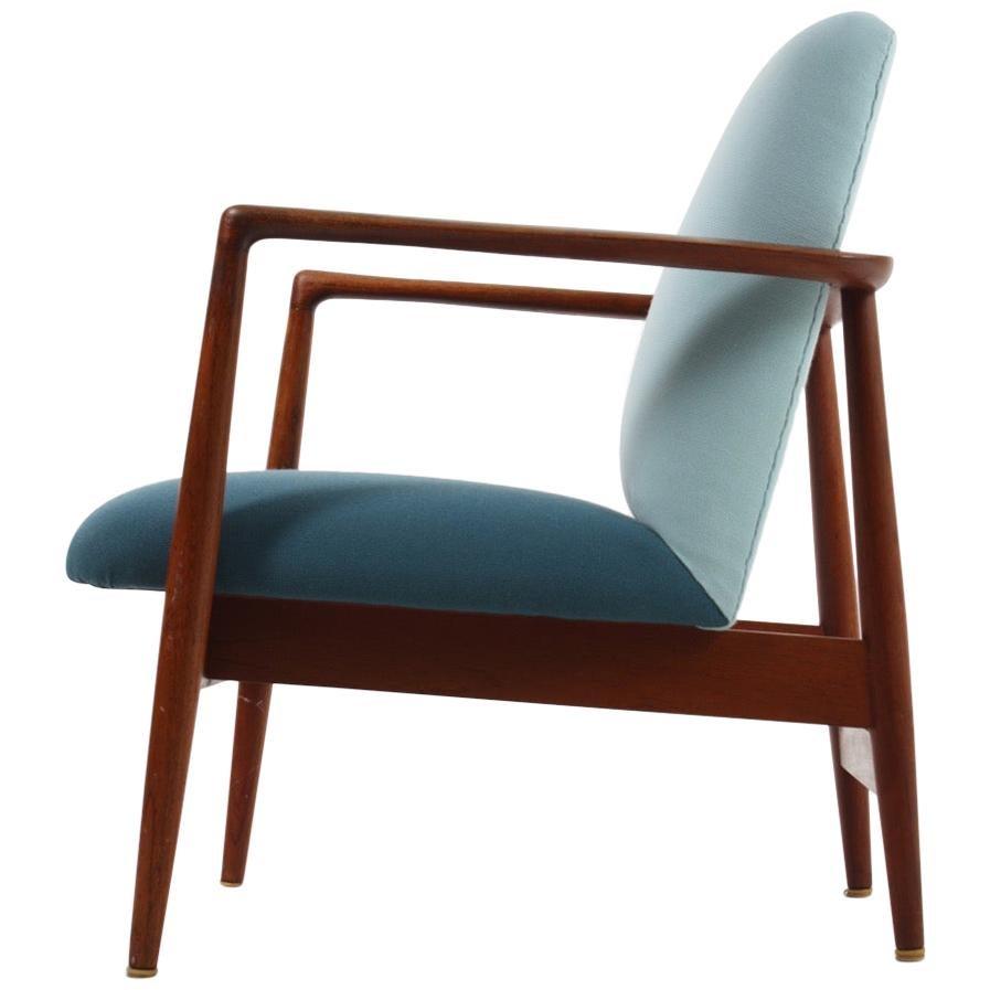 Danish Midcentury Lounge Chair in Teak and Fabric, 1950s
