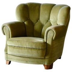 Danish Mid-Century Lounge or Club Chair in Green Mohair, 1940's