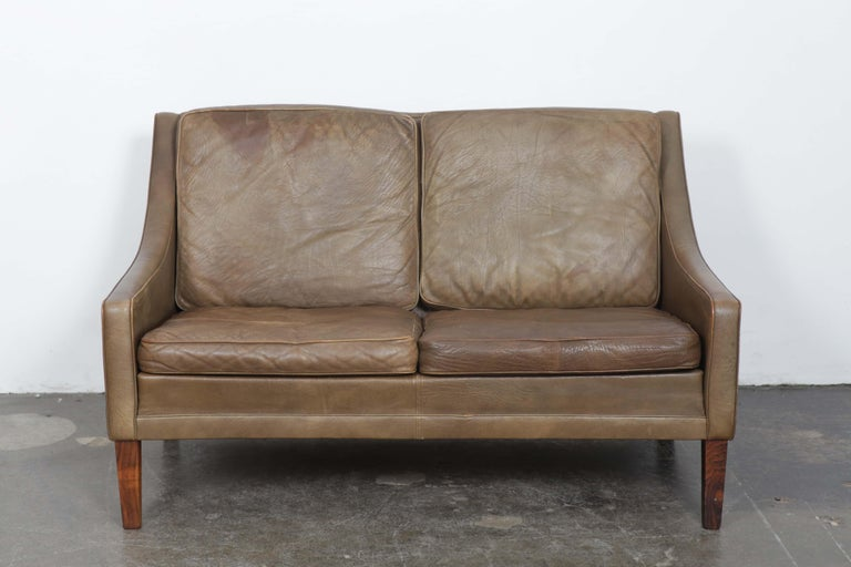 Danish Mid-Century Modern 2-Seat Brown Leather Sofa