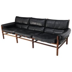 Danish Mid-Century Modern Black Leather Arne Norell Kontiki Sofa