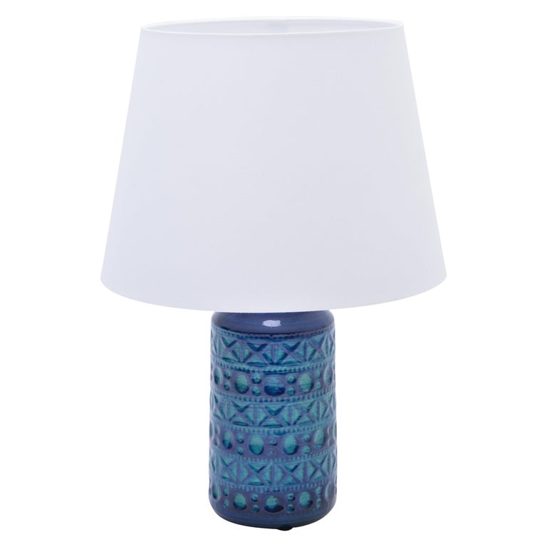 Danish Mid-Century Modern Blue & Green Ceramic Table Lamp by Lyskær Belysning For Sale