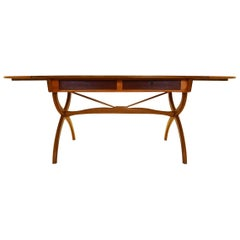 Danish Mid-Century Modern B?rge Mogensen 1957 Beech and Teak Drop-Leaf Desk