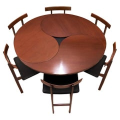 Danish Mid-Century Modern Dining Set with 6 Chairs and Extending Dining Table