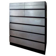 Danish Mid-Century Modern Ebonized Teak and Brushed Aluminum Chest of Drawers