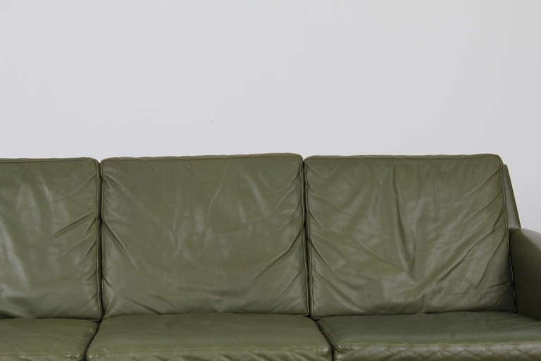 Danish Mid-Century Modern Green Leather Sofa with Metal Legs For Sale 2